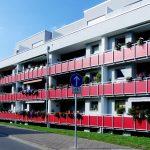 Wohnanlage Düsseldorf Lörrick Farbgestaltung Außenansicht