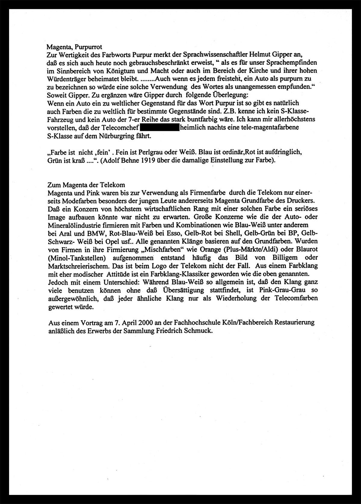 Schriftdokument Beitrag Schmuck Fachhochschule Köln anlässlich des Erwerbs der Sammlung Friedrich Schmuck