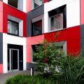 Studentenwohnheim Essen Farbgestaltung der Fassade Detail