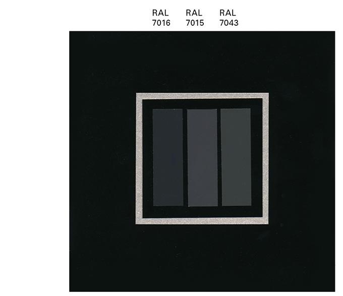 Farbmuster mit RAL 7016, RAL 7015, RAL 7043