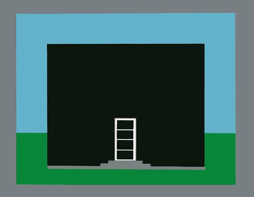 Die Farbe der Tür eines Hauses