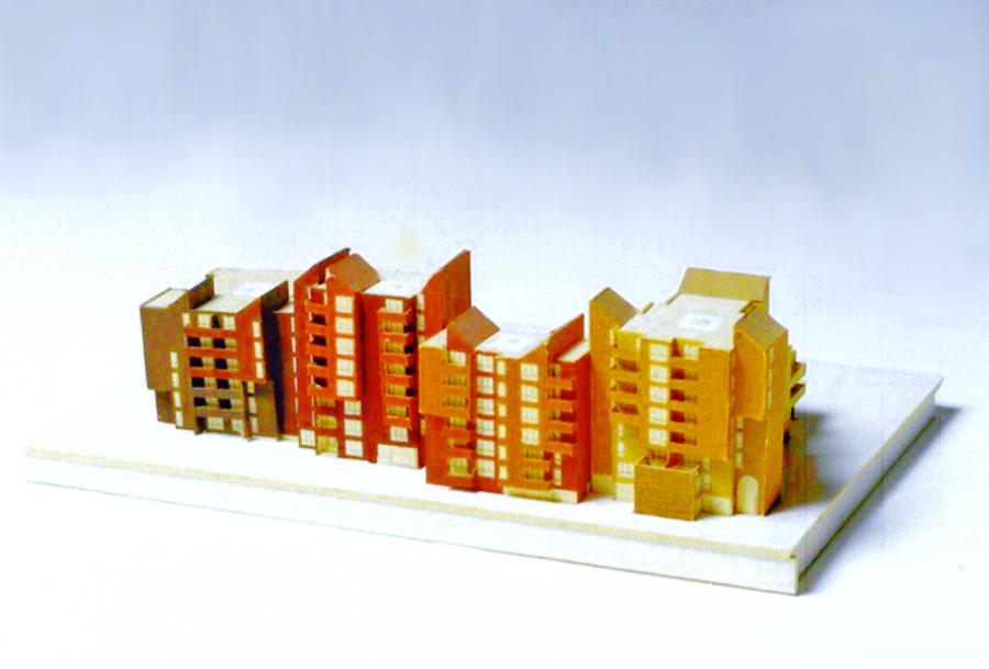 Farbgestaltung Wohnanlage Les Linandes am Modell